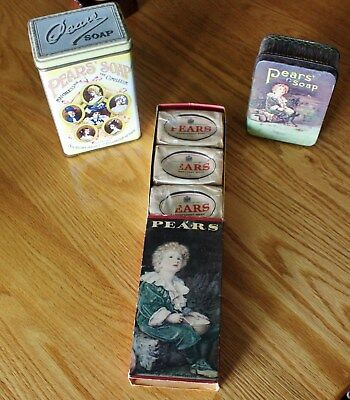 Antique Pears Soap Cardboard Box With Three Bars Of Soap / Two Pears Soap Tins