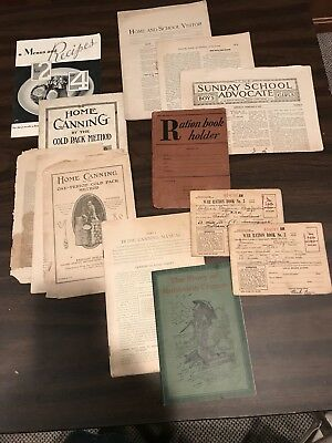 Vintage Papers 2 Ration Books, Holder, 4 Canning, Recipe Booklets, Others