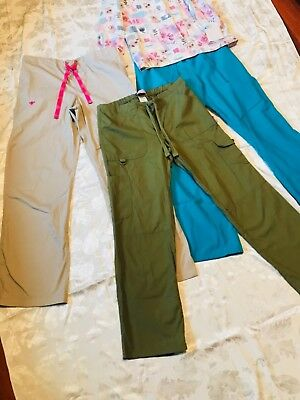 LOT OF 3 pants & I top/Scrubs size M,top Cherokee,pants cherokee & med Couture