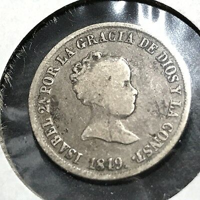 Spain 1849 Silver Madrid 2 Reales Scarce Coin