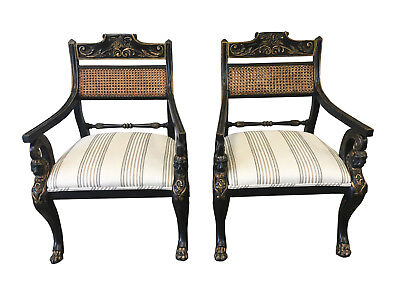 Pair of English Antique Regency Style Cane Back Painted Arm Chairs