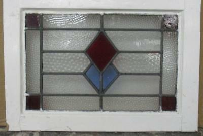 "OLD ENGLISH LEADED STAINED GLASS WINDOW Diamonds 19.5"" x 13.75"""