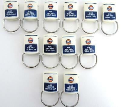 """(12) Vintage Gulf Oil Gasoline Advertising Keychains """"ask The Pro From Gulf"""""""