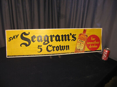 "42"" Vintage Seagrams Crown Whiskey Sign Cardboard Advertising Bus Trolley Subway"