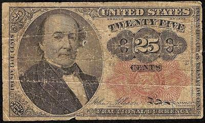 25 Cent Fractional Note United States Currency 1869-1875 Small Old Paper Money