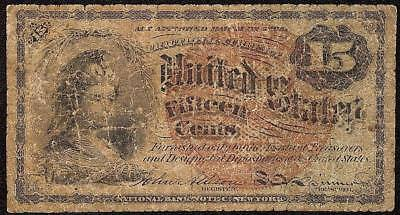 15 Cent Cents Fractional Currency 1869-1875 United States Note Old Paper Money