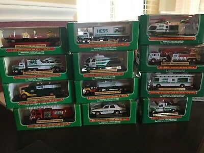 HESS TOY TRUCKS MINIATURES LOT OF 12 ea. 1999-2011 (-2009)