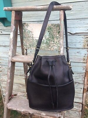 Vintage Coach Black Leather Bucket Drawstring Purse Made in USA H7D 9804