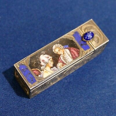 Old Hinged 800 Silver Enamel Lipstick Case Holder Lovers Courting Romance Mirror