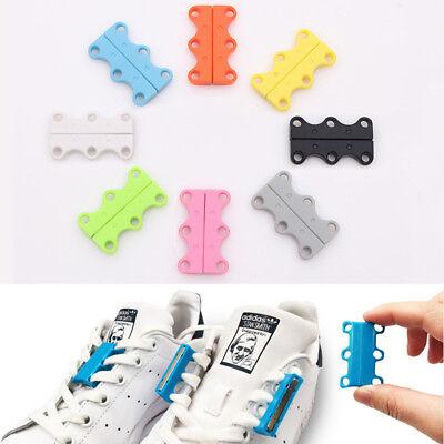 1x Magnetic Fast Closing Shoe Lace Sneaker Shoe Buckle Lazy No Tie White Green