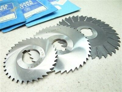 """New 3Pc Hss Staggered Tooth & Concave Side Slitting Saws 3/32"""", 1/8"""" & 5/32"""""""