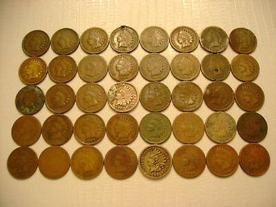 40 Indian Head Cents mostly 1800's copper nickel included No Reserve