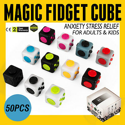 50PCS Magic Fidget Cube Anxiety Stress Relief Gift Adult Kid Focus 6-side Fast
