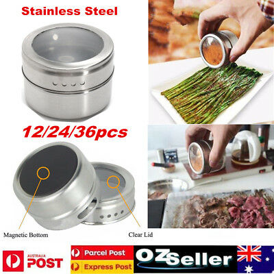 12/24/36x Magnetic Spice Tin Stainless Steel Storage Container Jar Clear Lid Set