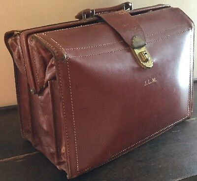 Old Vtg Antique Leather Doctor Medical Bag Steampunk Suitcase Carrying Tote