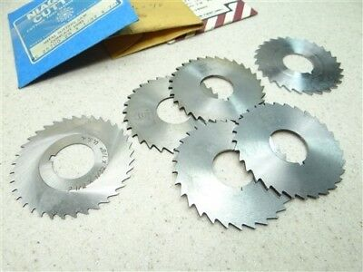 "New! Lot Of 6 Hss Slitting Saws 1/32"" & 1/16"" Widths 7/8"" Bores Niagara Union"