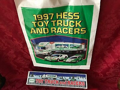 """1997 Hess """"toy Truck And Racers"""" New In Box With (2) Stock Car Style Race Cars"""