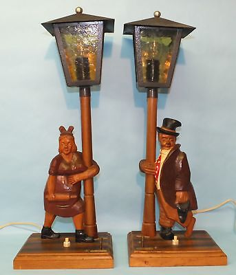 Vintage German Black Forest Griesbaum Anri Wood Carving Music Box Drunkard Lamps
