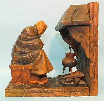 Rare Vintage German Black Forest Wood Carving Woman Sitting By Fireplace Figure