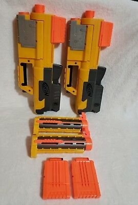 Lot of 2 NERF N-STRIKE DEPLOY CS-6 Dart Blaster with Light and Barrel, clips