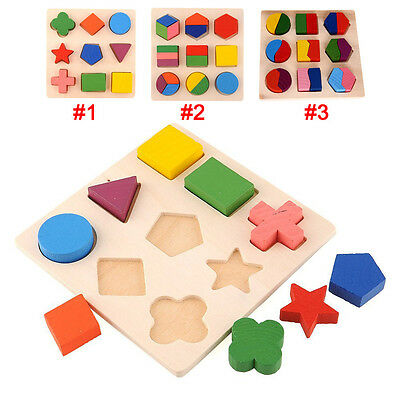 Kids Baby Child Wooden Learning Geometry Educational Toy Puzzle Montessori HCXM