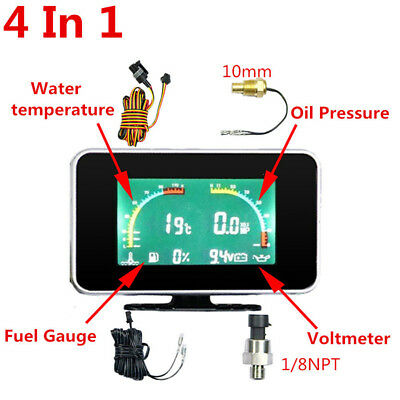 Car LCD Digital 4 in 1 Gauge (Water Temperature/Oil Pressure/Fuel/voltage Gauge)