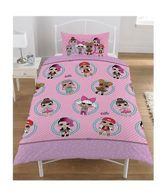 Girls LOL Surprise Collectible Reversible Single Bedding Duvet Pillow Cover Set