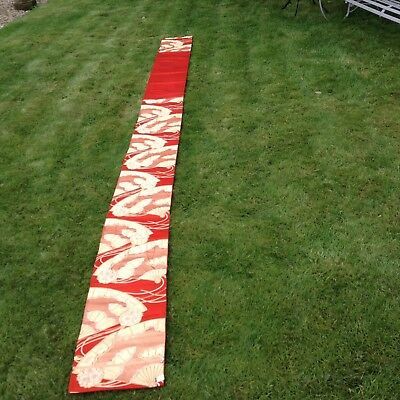 Vintage  Oriental Silk Red And Gold Banner. Ex. Condition Probably Unused