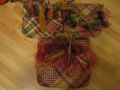 Papua New Guinea Hand Woven Bags Collection of 3
