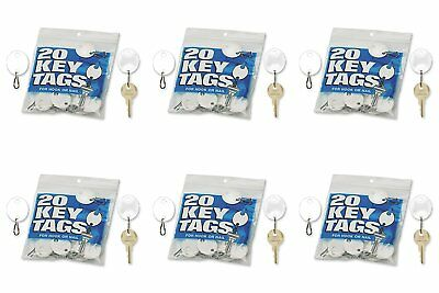 MMF Industries Snap-Hook Key Tags, Plastic, 1.25 Inches Height, White, 20 per 6