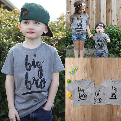 Infant Kids Baby Big Sister Little Brother Matching Clothes T shirt Tops Outfits