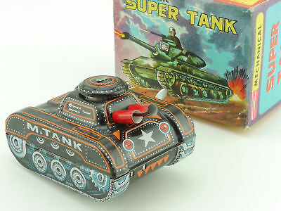 Yone Mechanical Super Tank Tin Toy Panzer Japan Uhrwerk MIB 1604-12-13