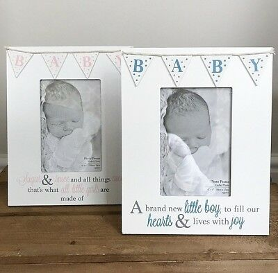 Baby White Photo Frame With Bunting Design Poem Blue & Pink Boy & Girl