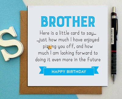 FUNNY BIRTHDAY CARD For Brother From Sister Naughty Rude Pssing You