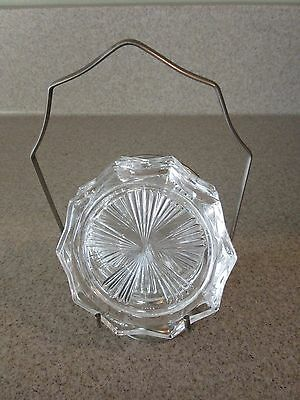 Vintage Silverplate Caddy with 4 Glass Coasters**Riems France**Starburst Motif