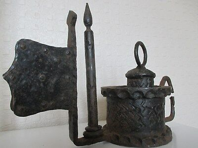 Most Unusual - Cast Iron Mystery Medieval Lantern like Object with Lock and Key