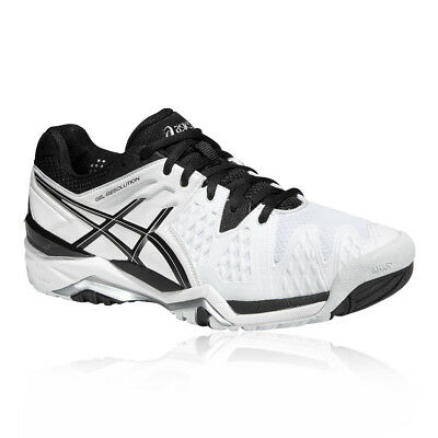 ASICS Gel-Resolution 6 Mens White Tennis Court Sports Shoes Trainers Pumps