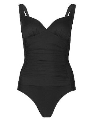 SS12 Ex Marks and Spencer Secret Slimming™ Lace-up Blue Plunge Swimsuit