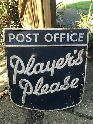 Vintage Advertising Shop Sign-Player's Please Post Office,GPO,Enamel Interest.