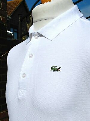 Lacoste White Textured L/S Polo - L/XL - Size 5 - Ska Mod Scooter Casuals Skins