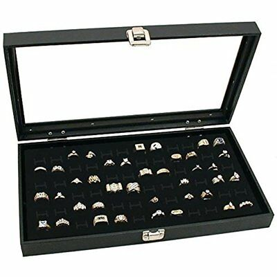 Glass Top Black Jewelry Display Case 72 Slot Compartment Ring Tray