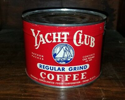 UNOPENED Yacht Club Coffee Key Wind 1lb Can Consolidated Foods Chicago