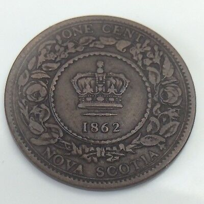 1862 Province Nova Scotia Canada Copper 1 Large Penny Cent Circulated Coin F238