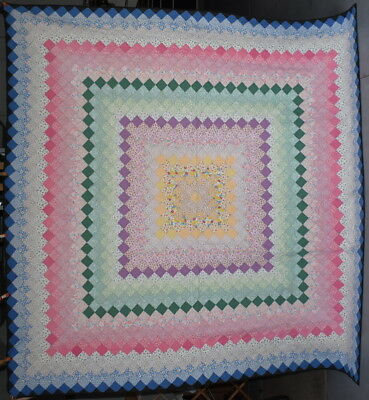 'Trip Around the World' Antique Quilt, One of a Pair, Sold Separately, #18155