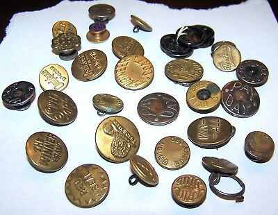 Lot 33 Vintage Denim Chore Work Wear Buttons Signal Utica Engineer Bell Bros Red