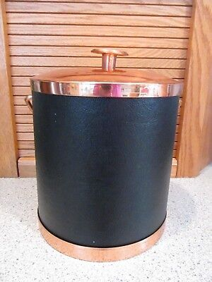 Vintage Coppercraft Guild Copper and Black vinylIce Bucket party beer mancave