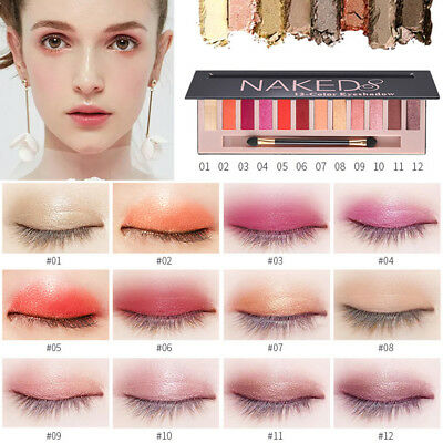 Pro Women Cosmetic Makeup Shimmer Matte 12 Colors Eyeshadow Palette Sombras New