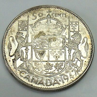 1947 Maple Leaf Straight S7 Canada Fifty 50 Cents Half Dollar Key Date Coin F242