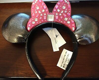 NEW Disney Minnie Mouse Ears Ear Headband - Pewter With Pink Rhinestone Bow