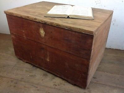 Vintage Pine Wood wooden chest Storage Trunk Coffee Table Old
